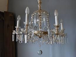 Prächtiger Antiker Glaslüster Kronleuchter Aus Glas