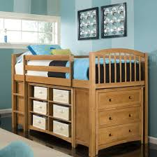 Bedroom: Solid Oak Wood Kids Bunk Bed With Storage Drawers Underneath And  Vertical Stairs -