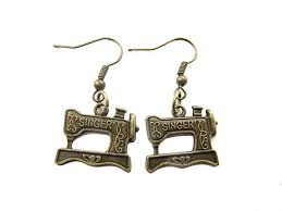 2pairs whole sewing maching vine inspired charm earrings bronze sewing machine seamstress jewelry quilters gift