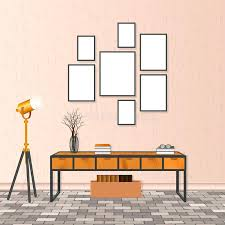 loft frames living room interior in hipster style with empty frames brick flooring and concrete