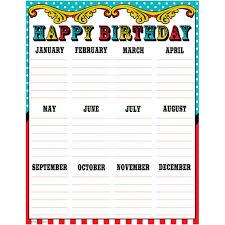 Teacher Birthday Chart Carnival Happy Birthday Chart