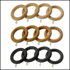 white wooden curtain rings with clips