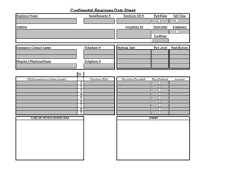 Employee Data Sheet Table