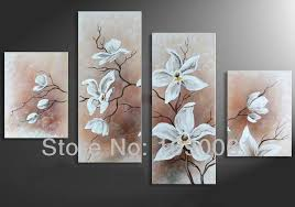 hand draw large art white flowers canvas oil painting 4pcs modern abstract home wall decoration picture