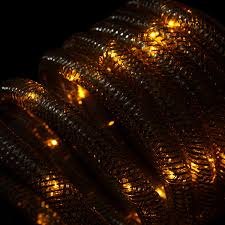 christmas rope lighting. Penn 9.8\u0027 Warm Clear LED Battery Operated Christmas Rope Lights With Gold Mesh Tube Lighting