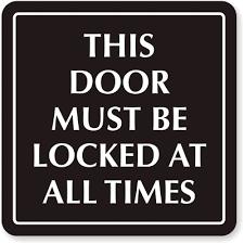 Zoom, Price, Buy Please Lock Door Sign MyDoorSign.com