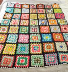 handmade vintage afghan throw blanket large granny square black
