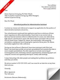 Sample Cover Letter For Administrative Assistant Administrative Assistant Cover Letter Sample Cover Letter