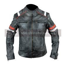 theskin men s cafe racer linear distressed black leather biker jacket