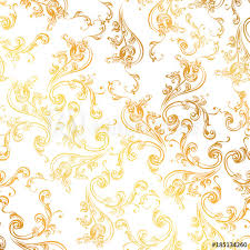Gold Damask Background Floral Pattern Wallpaper Baroque Damask Seamless Vector