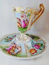 Decorative Cups And Saucers Gorgeous Austrian decorative demitasse cup and saucer with flowers 3