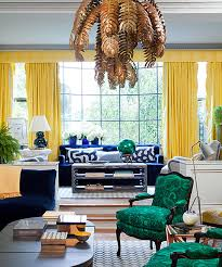 view in gallery radiant living room with yellow and green details