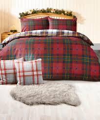 brushed cotton tartan duvet set red check house textiles y756x damart