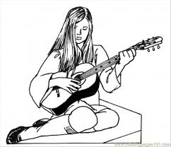 Small Picture Girl Play Guitar Coloring Page Free Instruments Coloring Pages