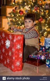 2 Year old boy with Christmas presents and Tree (MR) (MR Stock Photo