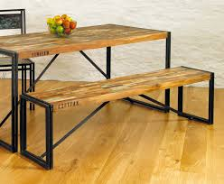 chic industrial furniture. Rustic Industrial Dining Table Chic Hampshire Furniture Completed With Hardwood Benches Using Black Iron Frames On U