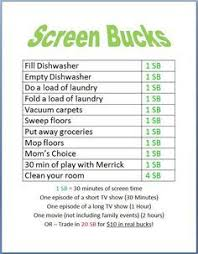 Weekday Size Chart Image Result For Afterschool Rules Before Screen Time