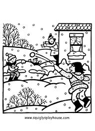 Sneeuwballen Gevecht Winter Kleurplaten Kleurplaten Winter En