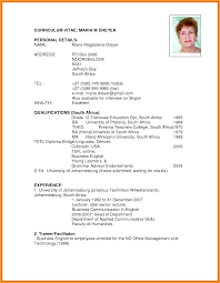 Cv Format South Africa Letter Format Mail