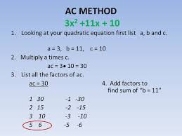 Ac Method Ac Method Of Factoring Ax2 Bx C Ppt Download