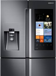 samsung refrigerator touch screen. refrigerator with family hub samsung rf28k9580sg - make the kitchen center of your home a 21.5\ touch screen