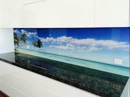 printed glass beach splashback