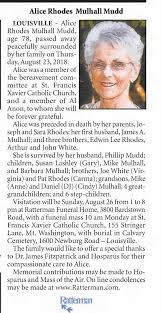 Obituary for Alice Rhodes Mulhall Mudd (Aged 78) - Newspapers.com
