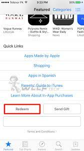 to redeem itunes gift card on iphone ipad