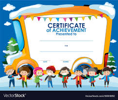 Children Certificate Template Certificate Template With Children In Winter Vector Image