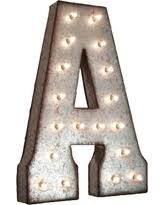 21 letter a plug in rustic metal marquee light up sign galvanized