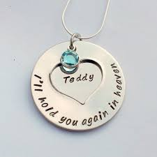personalised memorial necklace hold you again in heaven remembrance jewellery bereavement necklace miscarriage gift child loss gift