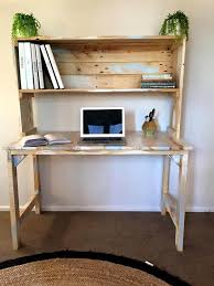 potting bench style desk with distressed wood