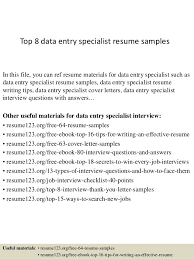 Data Entry Resume Sample Unique Top 8 Data Entry Specialist Resume