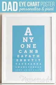 Diy Eye Chart Personalized Fathers Day Gift