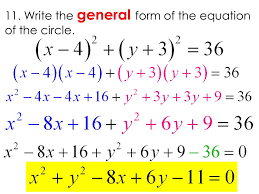 write the general form of the equation of the circle