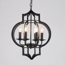 industrial candelabra chandelier 6 light with bird lantern metal cage in black