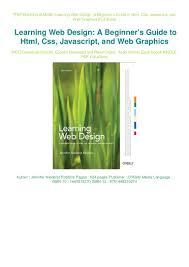 Learning Web Design Free Ebook Download Pdf Ebook Free Learning Web Design A Beginners