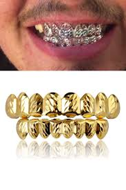 Gold Grill Designs 2020 18k Real Gold Punk Hiphop Vampire Hammered Teeth