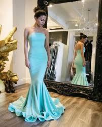 2017 Prom Dress Strapless Mermaid Long Tiffany Blue Prom Dress