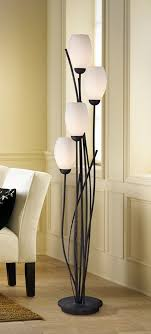 The 4-Light Black Metal and White Glass Tulip Floor Lamp