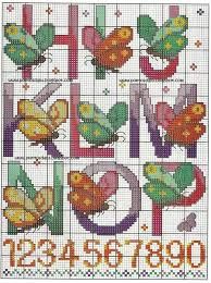 Butterfly Alphabet Chart Cross Stitch Butterfly Alphabet Part 2 Color Chart On