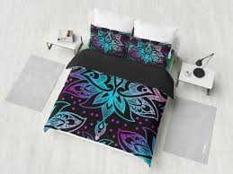 purple pink blue fl black bedding