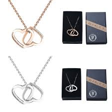 details about necklace rose gold plated double heart women girl stainless steel heart pendant