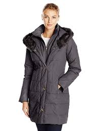Larry Levine Womens Down Filled Coat With Faux Fur Trimmed Hood