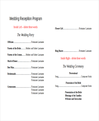 wedding reception program templates free download free sample wedding programs templates programme for wedding