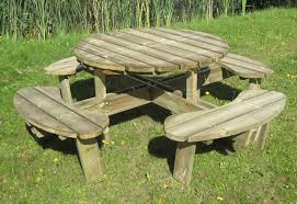image of kids wooden picnic table ideas