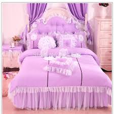 disney princess full bedding set purple pink blue lace princess bedding set cotton 3 for girls twin full queen size ruffle bed skirt free in