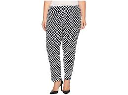 Krazy Larry Plus Size Pull On Ankle Pants Ivory Navy