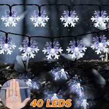 YECO Led String Lights 16 FT 40 LED Snowflakes Christmas Fairy Battery Operated Waterproof Snowflake lights for Home, Party, Amazon.com:
