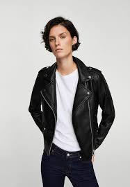mango appliqué biker jacket black